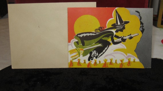 1940's Die cut Halloween party invitation wicked witch riding broom  unused with envelope