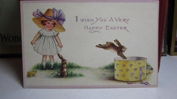 RESERVED Sweet unused whitney made easter greetings postcard little girl with large hat and rabbits jumping into hat box