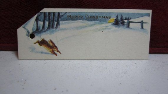 Vintage die cut 1930's-40's christmas gift tag card rabbit hopping in the snow unused
