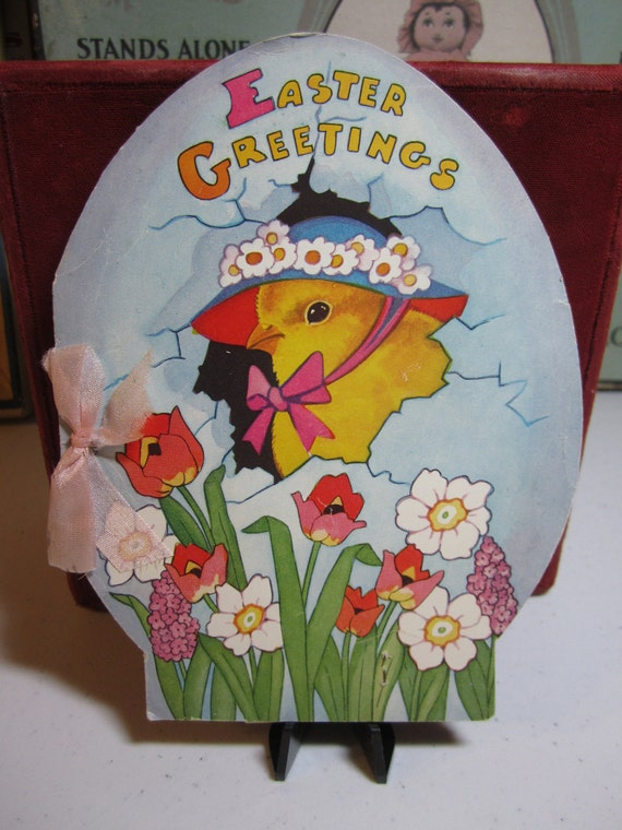 Wonderful circa 1933 large die cut  egg shaped pop up easter greeting card chick in bonnet hen house flowers