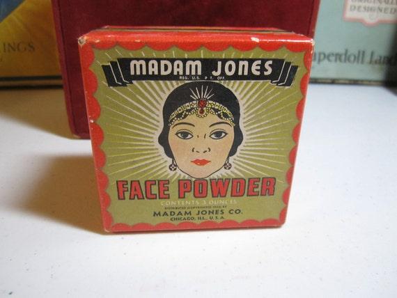 1940's  Art Deco Madam Jones face powder box graphics of african american woman black americana memorabilia