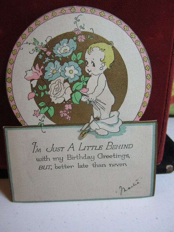Darling die cut 1920's art deco gold gilded belated birthday card baby holding bouquet diapers down real safety pin rust craft