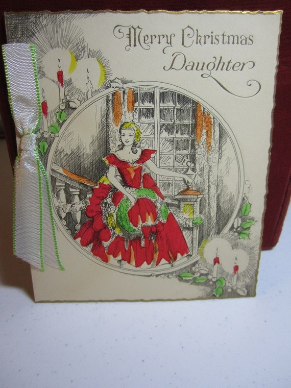 Gorgeous,art deco hand colored merry christmas daughter greeting card girl in red dress holding wreaths hall brothers