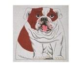 Needlepoint stuffed dog canvas - Bulldog front only