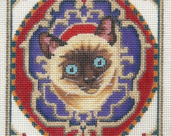 Needlepoint Cat Portrait - Siamese Cat