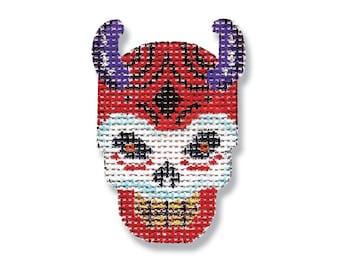 Hand Painted Halloween Needlepoint Canvas - Devil Skull