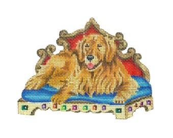 Hand Painted Needlepoint Dog Canvas - Golden Retriever