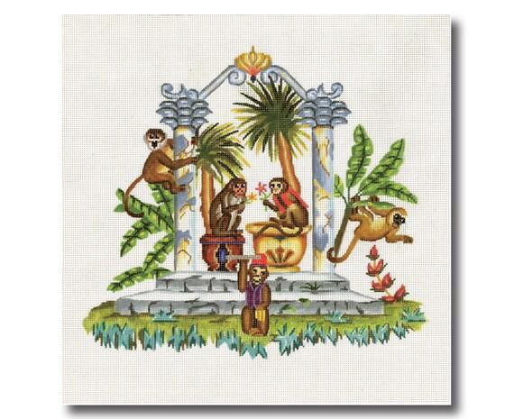 Needlepoint Monkey Canvas - Monkeys in Tropical Garden