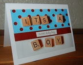 Baby Shower Card - blue and brown with polkadots with the words IT'S A BOY - single card