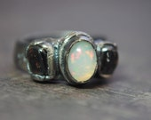 Welo Opal and Garnet Fine Silver Ring Size  5.5