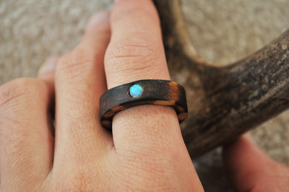 Wooden Opal Ring - Size 10
