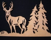 White Tail Deer Wildlife Fretwork Scollsaw Cutting to be framed or place in an Easel