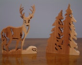 White Tail Deer and Pine Trees Plaque Wildlife Fretwork Scollsaw Cedar