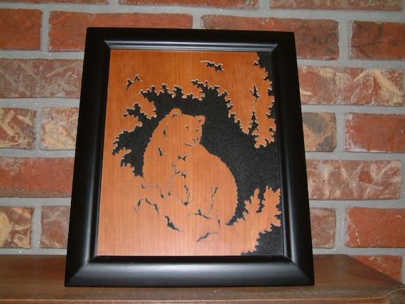 Cabin Decor - Wildlife - Black Bear Wall Hanging - Black Bear Rustic Picture - Home Decor - Country Decor - Office Decor - Black Bear