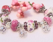 Lavender and Fuchia Charm Bracelet with Crystal Charms