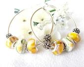 Yellow Butterfly European Beaded Hoop Earrings
