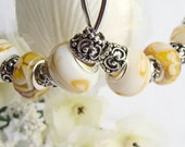 Yellow and White Swirl European Beaded Hoop Earrings with Antique Silver Bead Caps