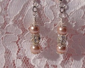Pink Pearl and Crystal Earrings