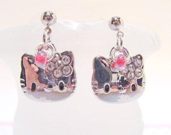 Cute Little Silver Kitty Earrings with Rhinestones