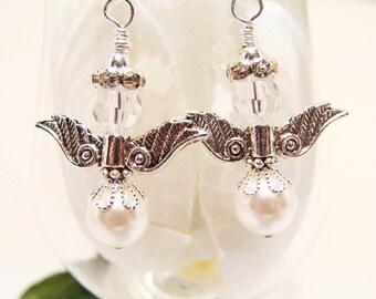 June Swarovski Pearl Birthday Guardian Angel Earrings