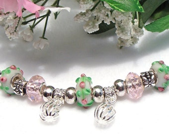 Spring Green and Pink  Charm Bracelet with Crystals and Lantern Charms