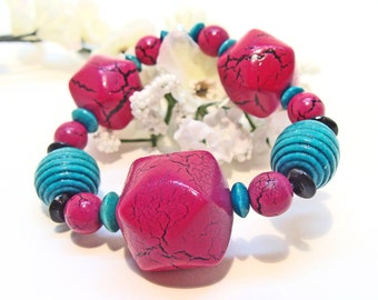Fuchsia and Turquoise Wooden Beaded Stretch Bracelet for Spring