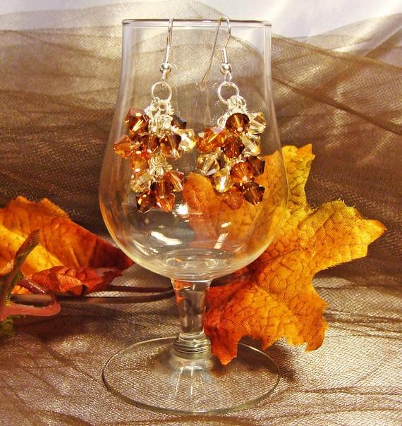 Autumn Splendor Topaz Cluster Earrings with Swarovski Crystals