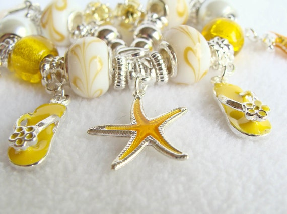 Yellow and White Swirl European Beaded Charm Bracelet with Ocean Charms