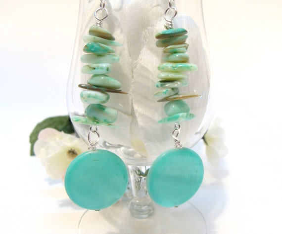 Teal Green Mother-of-Pearl Chips and Disc Dangle Earrings