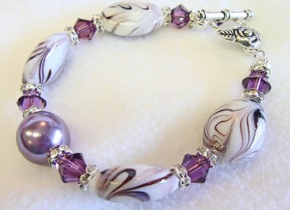 Stunning Amethyst Swirl Lampwork Beaded Bracelet with Swarovski Crystals