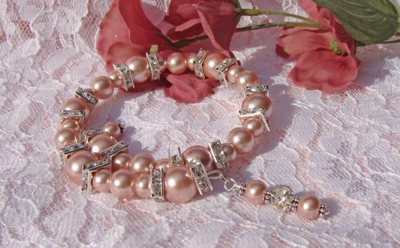 Pink Pearls and Crystal Wrap Bracelet
