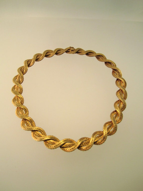 18k Yellow Gold Woven Signed Buccellati Necklace