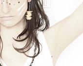 Orange drop earrings - geometric tangerine stripes earrings
