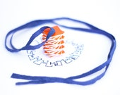 Twister orange necklace - with blue leather, tornado necklace