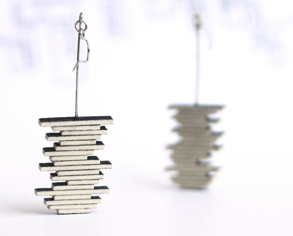 Black geometric earrings - line stripes jewelry