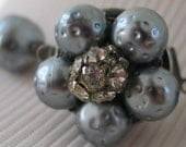 Exquisite Vintage Silver Gray Faux Pearl Necklace with Rhinestone Encrusted Balls