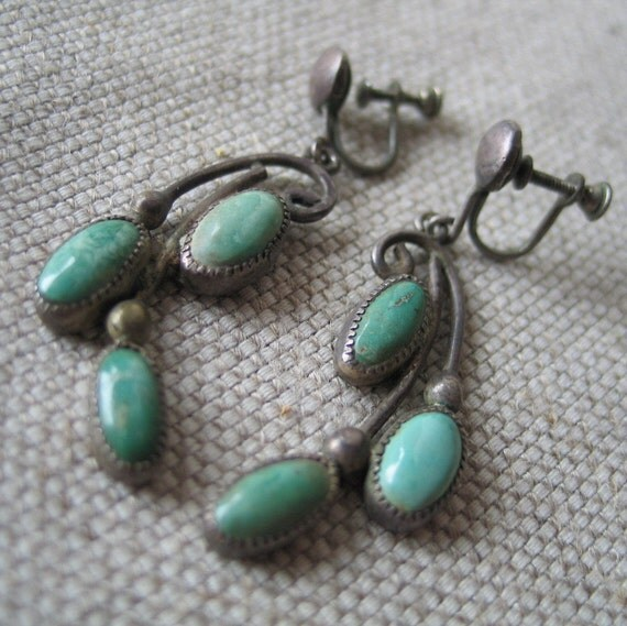 RESERVED for ROBIN thru Sat, June 2nd: Authentic 1940s Turquoise Dangle Drop Earings
