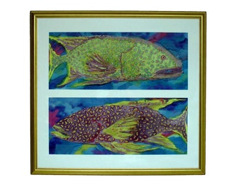 OPPOSITE FISH Colorful Dye on Silk Underwater Painting in Green Purple
