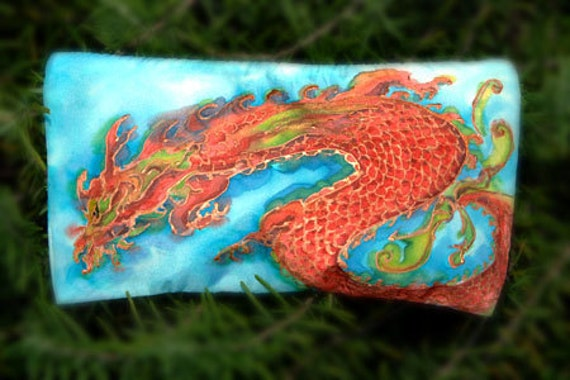 Year of the Water Dragon handpainted silk cosmetic bag