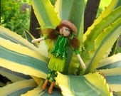 Greta Green--Small Posable Wool Felt Doll
