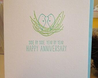 Anniversary Card - Love Birds - Letterpress