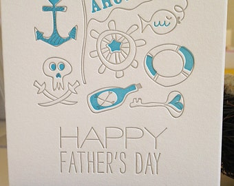Letterpress Fathers Day Card - Letterpress Nautical card for Dad.
