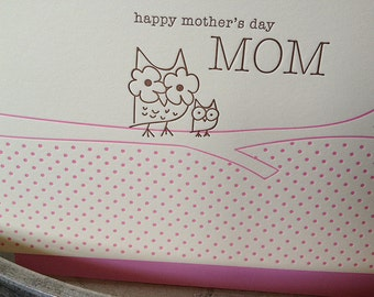 Mother's Day owl and owlette card - letterpress