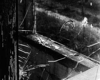 "5x7, Hand-Printed Black and White Silver Gelatin Print, ""Broken Window No. 1"""