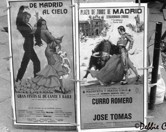 """5x7, Hand-Printed Black and White Silver Gelatin Print, """"Posters, Madrid"""""""