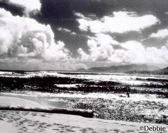 "5x7, Hand-Printed Black and White Infrared Silver Gelatin Print, ""Lanai Beach"""