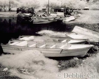 5x7 hand printed black & white infrared silver gelatin print - Boats in San Carlos, Mexico