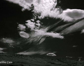 Digital photo, giclee print, 5x7, black and white infrared, Cloud Series No 1