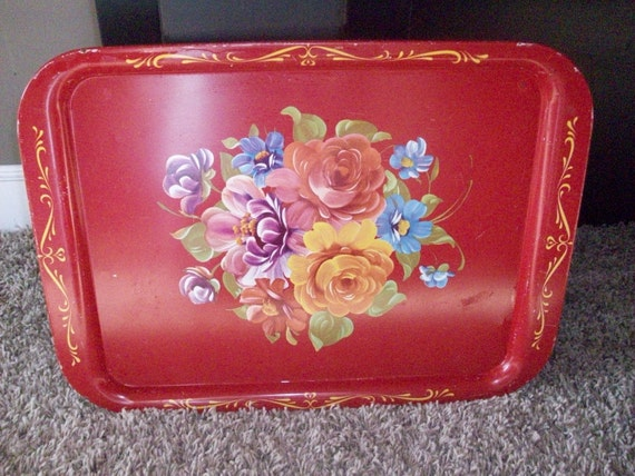 Vintage red floral tin tray, unique color