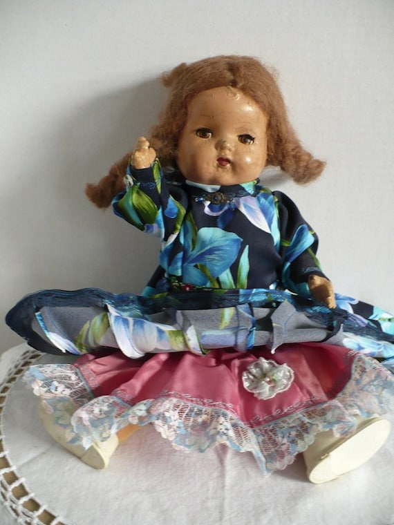 antique Composition Doll - Poseable - Sleepy Eyes - handmade clothing - vintage collectible toy, shabby chic